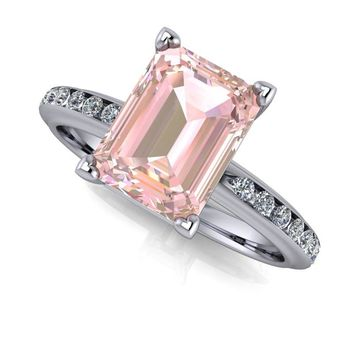 14 kt Gold Emerald Cut Morganite Solitaire with Diamond Channel Set Engagement Ring 1.65 CTW