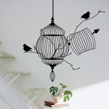 3d Birds cage & tree branch creative modern pvc wall sticker removable waterproofing home wall living room ZY8231 home decor SM6