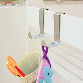 2Pcs Stainless Over Door Hooks Kitchen Cabinet Draw Towel Clothes Holder Hanger