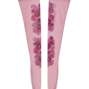 Flora Mirage Printed Thigh-high Nylon Stockings