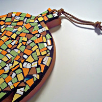 Etsy Mosaic Leaf Design Trivet / Wall Hanging Wall Art Yellow Green Orange Brown Wood Leaf Shape Nature Contemporary Mosaic Abstract Art