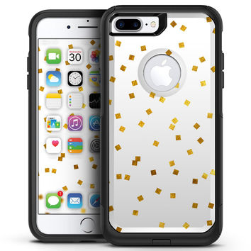 Scattered Micro Blocks of Gold Over White - iPhone 7 or 7 Plus Commuter Case Skin Kit