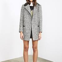 FOREVER 21 Faux Leather-Trimmed Marled Coat Black/Cream
