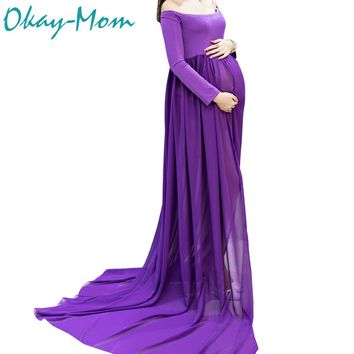 Hot Sale Maternity Photography Props Pregnancy Clothes Maxi Maternity Photo Shoot Dress Long Chiffon Dresses For Pregnant Woman