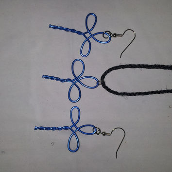 Blue wire twist wrapped cross necklace and earring jewelry set