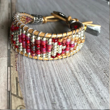 Beaded Heart Bracelet Native American Style Seed Bead