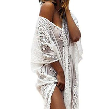 Boho Lace Hollow-out Maxi Kaftan with Splits