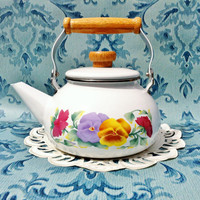 Tea Kettle, Tea Pot, Enamel Tea Pot, Tea Pot With Flowers, Floral Tea Pot, White Enamel Ware, Pansies, Excellent Condition, Wood Handle