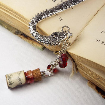 Dragon Blood Glass Potion Bottle Beaded Metal Fantasy Bookmark