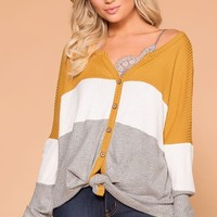 Light Breeze Mustard, Ivory and Grey Color Block Waffle Knit Top