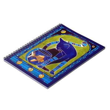 Blue Cat With Goldfish Whimsical Cat Art Spiral Notebook