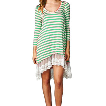 3/4 Sleeve Striped Lace Trimmed Tunic Dress