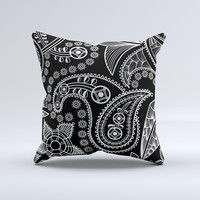 Black and White Paisley Pattern v14 ink-Fuzed Decorative Throw Pillow