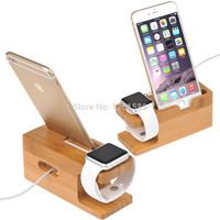 100% Natural Bamboo Charging Dock Station Bracket Cradle Stand Holder For APPLE iPhone 6PLUS/6/5S/5C/5/4S/4/For i watch