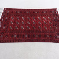 Size:6 ft by 3.8 ft Handmade Rug Vintage Afghan Turkomen Red Tekke Bukhara Carpet