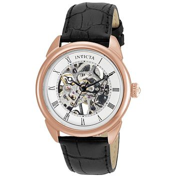 INVICTA Specialty Mens Skeleton Watch - Rose Gold-Tone - Black Leather Strap