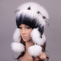 Genuine fur earmuffs hat new natural Rabbit fur hats with fox fur cap high quality women winter fur Beanies cap MC-A-02