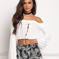 White Ruched Off Shoulder Cut Out Crop Top
