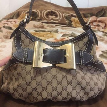 DCCKV2S Authentic GUCCI 'Queen' Hobo Shoulder BAG HANDBAG brown Dialux Fabric w/Bow