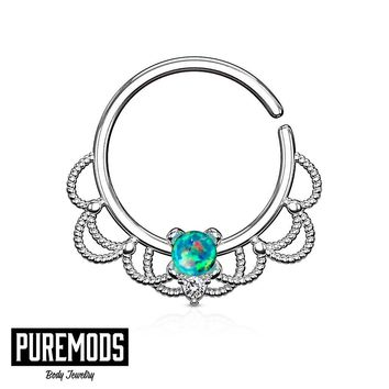 "Green Opal Set Centered Filigree Annealed Hoop For Nose Septum, Daith and Ear Cartilage (16G - 5/16"")"