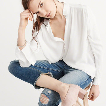 Womens Ruffle Neck Shirt | Womens Tops | Abercrombie.com