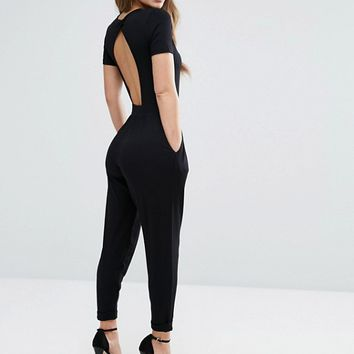 ASOS PETITE Wrap Front Jersey Jumpsuit with Short Sleeve at asos.com