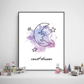 Printable Watercolor Painting, Sweet Dreams, Baby - Child Room, Drawing, Decorations, Colorful, Digital