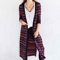 Ecote Daria Fair Isle Maxi Cardigan Sweater- Black