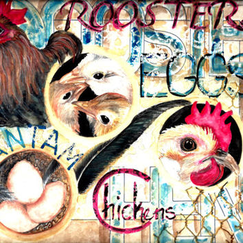 Country chickens kitchen wall art rustic design vintage look country home decor watercolor roosters fresh egg sign rustic art gifts under 15