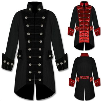 Steam Punk Vampire Retro Jacket Gothic Jacket Uniforms Pirate Cotton Coat S-3XL