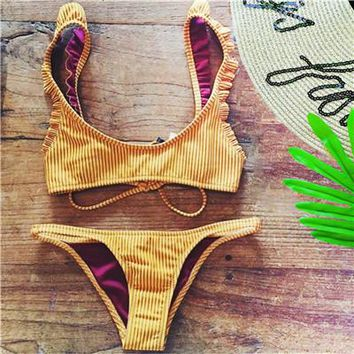 Swimsuit 2018 New Sexy Bikini Set Yellow Stripe Push Up Swimsuit Ms. Ruffle Bikini Brasil Swim bikini Free Shipping