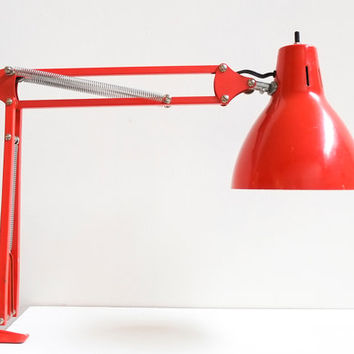 Cherry Red 1960's Mid Century Industrial Vintage Metal Adjustable Task Clamp Drafting Lamp