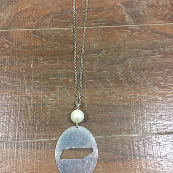 Long Tennessee Cutout Pendant Necklace with Pearl