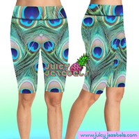 CHEEKY PEACOCK Rave Shorts Bike Shorts Cycling Shorts High Waisted Shorts Rave Clothing Music Festival Clothing Rave Outfit Rave Wear