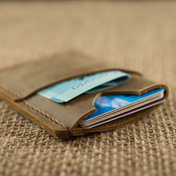 Front Pocket Wallet // Chestnut Slim Leather Wallet // Mens Womens Credit Card Holder // Wallet with Initials