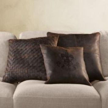 Leather Pillow Covers Chocolate | Pillows | Restoration Hardware