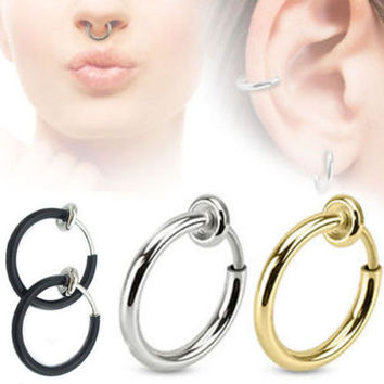 Fashion 3 Colors Fake Spring Action Non Piercing Nose Septum/Ear Cartilage Ring hot selling