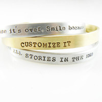 Set of Three, Custom Bracelets Set, Gold Brass Bracelet Hand Stamped 1/4-inch cuff