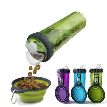 3 in 1: Portable Pet Food AND Water Bottle With Collapsible Bowl