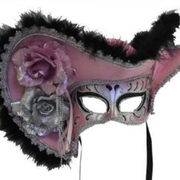 RedSkyTrader Womens Pirate Masquerade Mask with Hat One Size Fits Most Pink