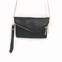 Lucy Crossbody Handbag & Clutch In Black