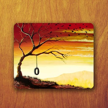 Tree Painting Mouse Pad Orange Cloud Bird Shadow MousePad Lonely Office Pad Work Accessory Personalized Custom for Techer Gift