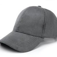 JOOWEN 6 Panel Faux Suede Leather Classic Adjustable Plain Hat Baseball Cap