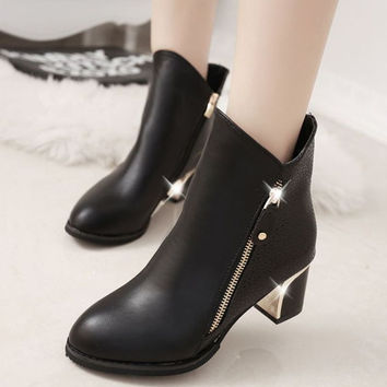 Martins Solid Adhesive Woman Shoes Autumn 2015 Fashion Thick Square Cuban Heel Ankle Boots Pu Side Zip Cotton Fabric Euro Style