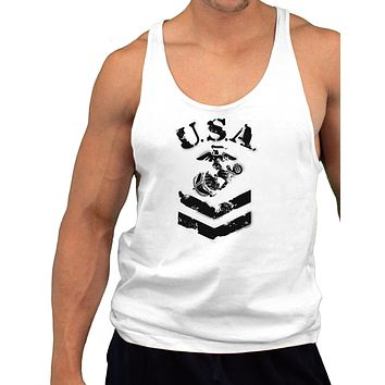 USA Military Marine Corps Stencil Logo Mens String Tank Top