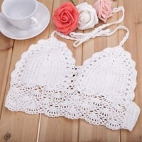 2017 summer style sexi White crochet bikini crop top handmade swimwear women sexy beach bikini top swimsuit free shipping e013
