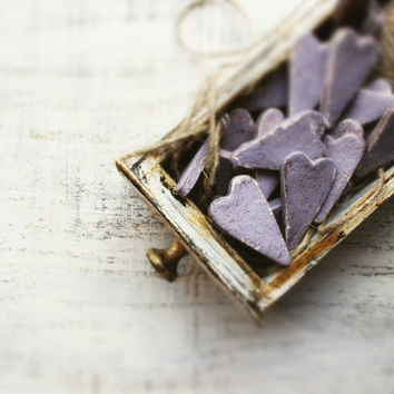 Rustic wedding favors hearts magnets cottage chic guest favors shabby chic bridal shower periwinkle thistle lilac lavender brown grey