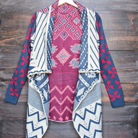 final sale - womens open front waterfall aztec cardigan