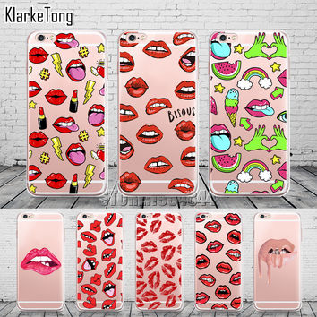 Graffiti Sexy Girl Kylie Lips Phone Case For iPhone 6 6S 5 5s SE 7 7Plus Transparent Silicone Carcasas Fundas Capinha