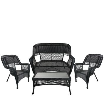 4-Piece Black Steel Resin Outdoor Patio Furniture Set - Loveseat  2 Chairs and Table